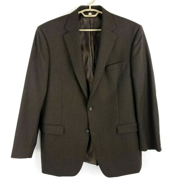 Ralph Lauren Brown Check Wool Two Button Single Vent Blazer Jacket Mens 43R